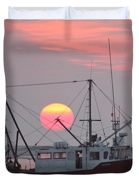 Sun Rises On A Fishing Boat Duvet Cover by Justin Connor