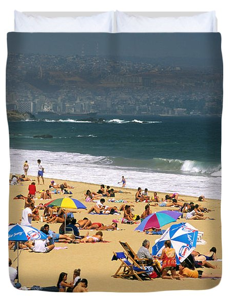 Sunbathers Duvet Cover by David Frazier and Photo Researchers