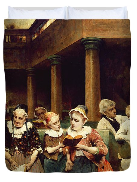 Sunday School Class  Duvet Cover by Isaac Mayer