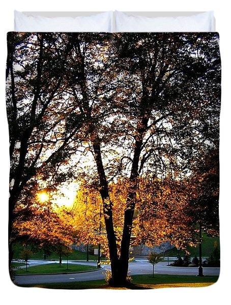 Sundown In Stanley Park Duvet Cover by Will Borden
