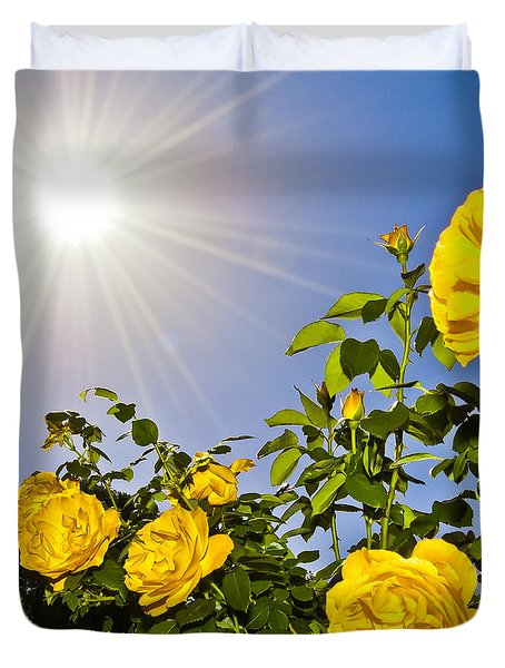 Sunflare And Yellow Roses Duvet Cover by Amber Flowers