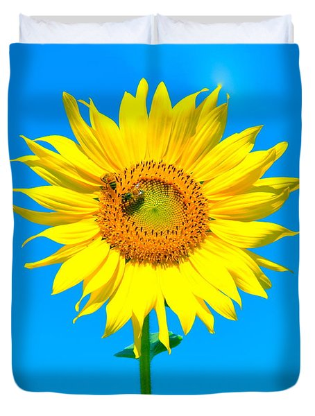 Sunflower And Bee Duvet Cover by Debbi Granruth