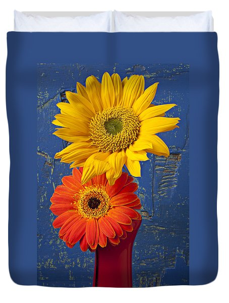 Sunflower And Mum Duvet Cover by Garry Gay