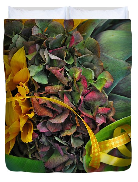 Sunflower And Thistle  Duvet Cover by Mary Machare