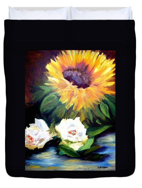 Sunflower And White Roses Duvet Cover
