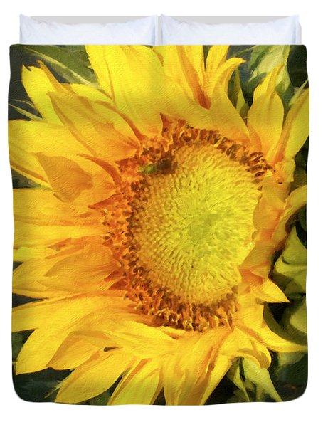 Duvet Cover featuring the digital art Sunflower Digital Art by Deniece Platt