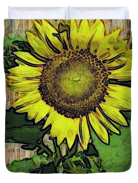 Duvet Cover featuring the photograph Sunflower Face by Alec Drake