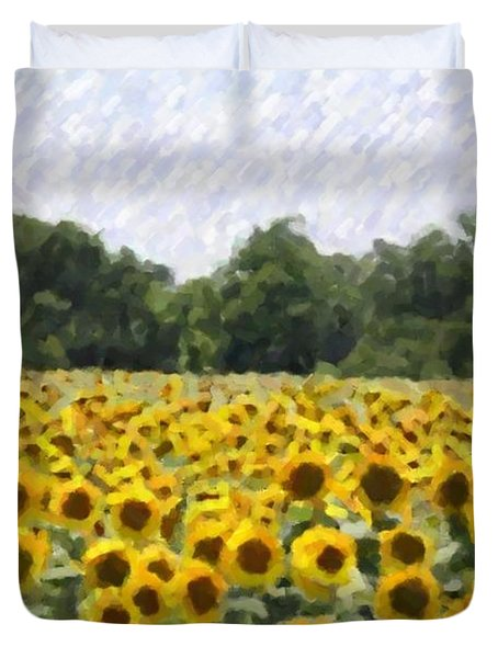 Duvet Cover featuring the photograph Sunflower Field by Donna  Smith