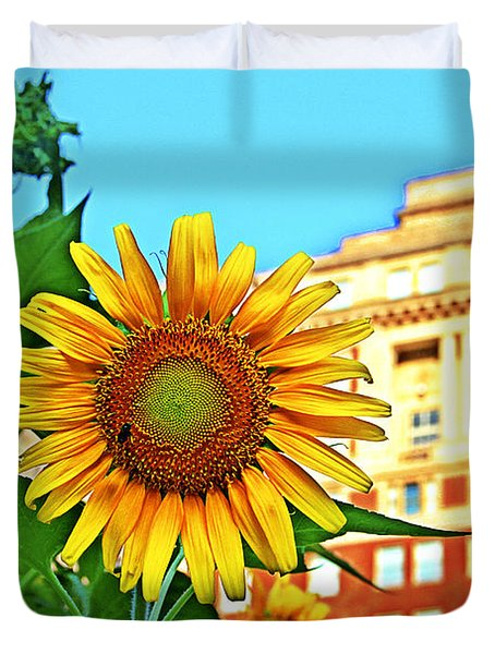 Duvet Cover featuring the photograph Sunflower In The City by Alice Gipson