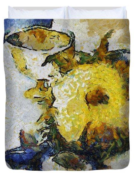 Sunflower Still Life Duvet Cover