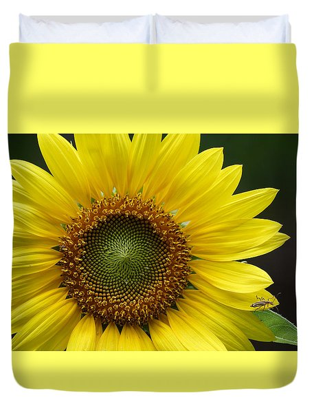 Duvet Cover featuring the photograph Sunflower With Insect by Daniel Reed