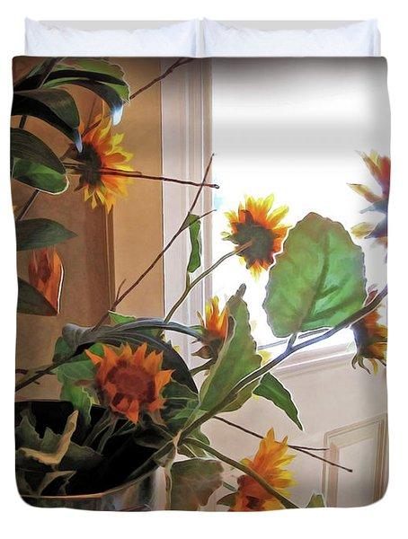 Sunflowers In Pots Duvet Cover by Joan  Minchak