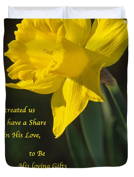 Sunny Daffodil With Quote Duvet Cover