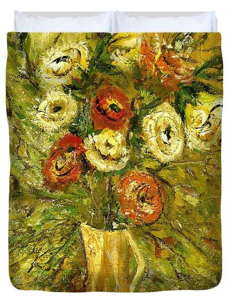 Sunny Flowers In Yellow Vase Duvet Cover by Rachel Hershkovitz