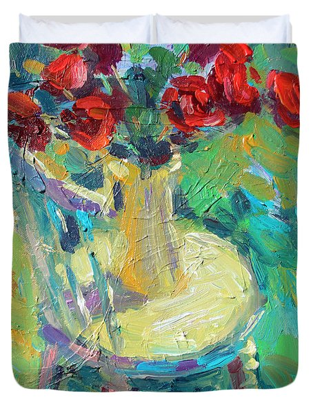 Sunny Impressionistic Rose Flowers Still Life Painting Duvet Cover by Svetlana Novikova