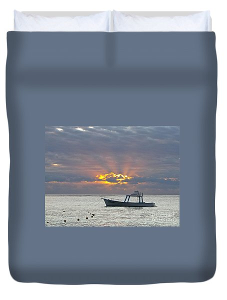 Duvet Cover featuring the photograph Sunrise - Puerto Morelos by Sean Griffin