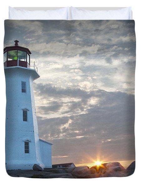 Sunrise At Peggys Cove Lighthouse In Nova Scotia Number 041 Duvet Cover