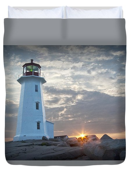Sunrise At Peggys Cove Lighthouse In Nova Scotia Number 041 Duvet Cover