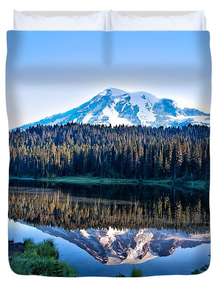 Sunrise At Reflection Lake Duvet Cover