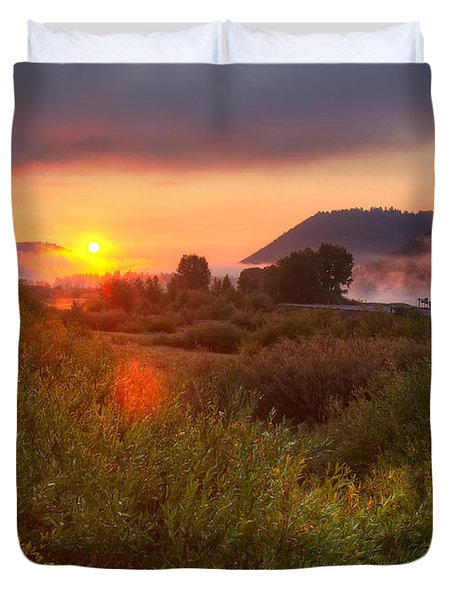 Sunrise At Snake River Duvet Cover