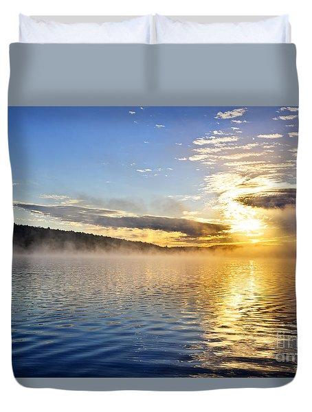 Sunrise On Foggy Lake Duvet Cover