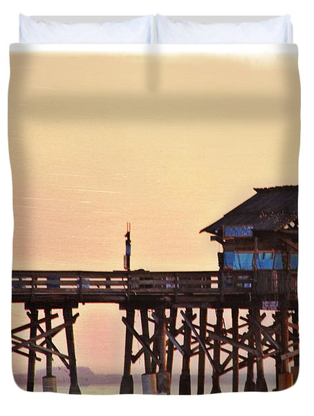 Duvet Cover featuring the photograph Sunrise On Rickety Pier by Janie Johnson