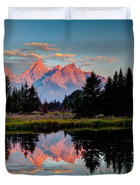 Sunrise On The Tetons Duvet Cover