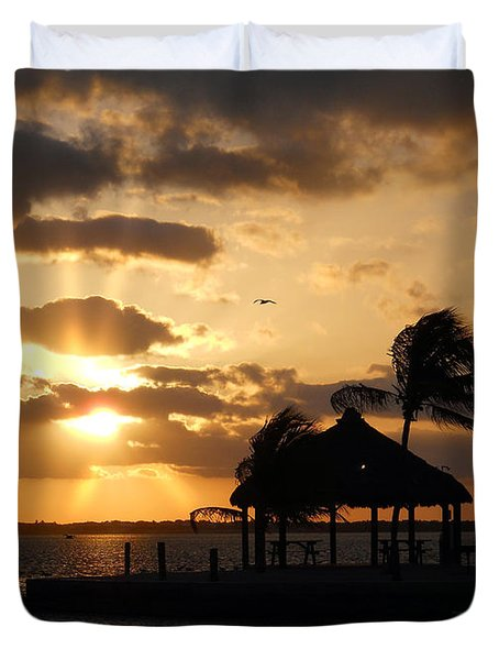 Duvet Cover featuring the photograph Sunrise Over Bay by Clara Sue Beym