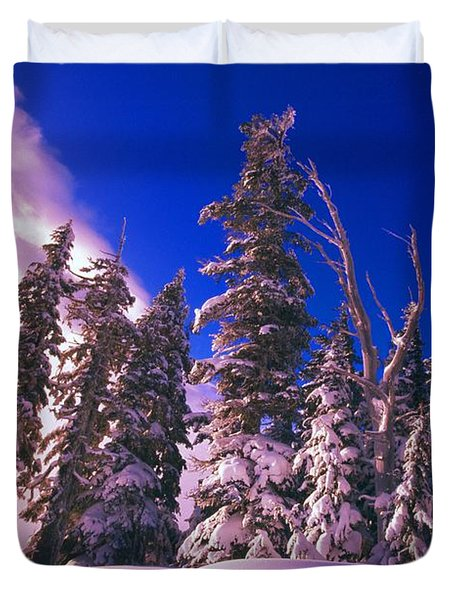 Sunrise Over Snow-covered Pine Trees Duvet Cover by Natural Selection Craig Tuttle