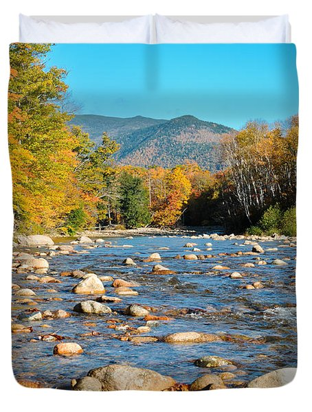 Sunrise Over The Saco Vertical Duvet Cover by Geoffrey Bolte