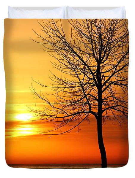 Duvet Cover featuring the photograph Sunrise Silhouettes by Davandra Cribbie