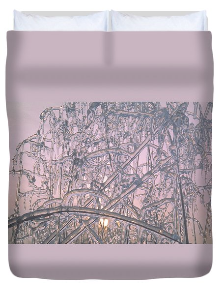 Duvet Cover featuring the photograph Sunrise Through Ice Covered Shrub by Tom Wurl