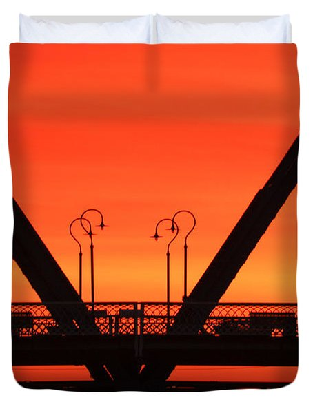 Sunrise Walnut Street Bridge Duvet Cover