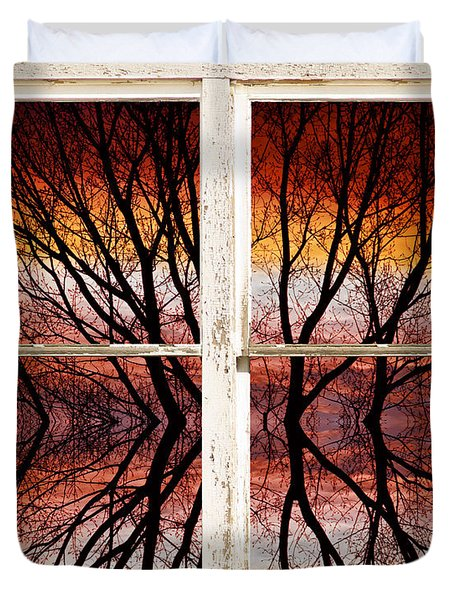 Sunset Abstract Rustic Picture Window View Duvet Cover by James BO  Insogna