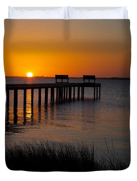 Sunset Across Currituck Sound Duvet Cover