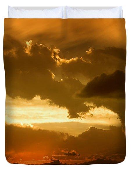 Sunset After The Storm Duvet Cover by Ellen Heaverlo