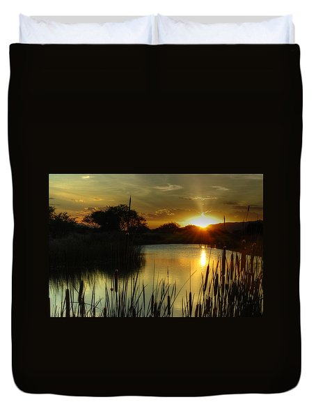 Sunset And Cattails Duvet Cover by Tam Ryan