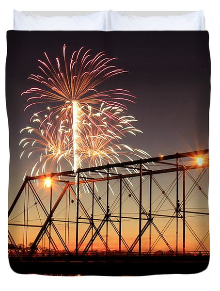 Sunset And Fireworks Duvet Cover