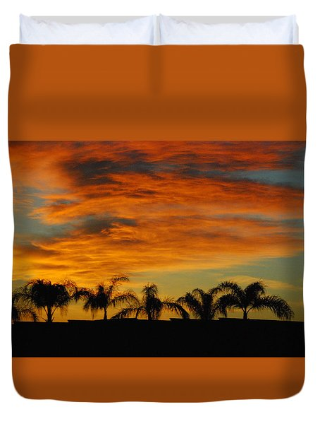 Sunset And Palms Duvet Cover