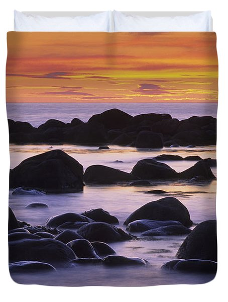 Sunset And Rocky Coastline, Gros Morne Duvet Cover
