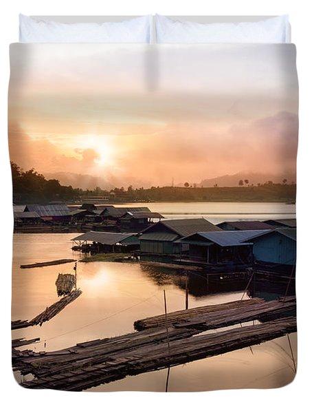 Sunset At Fisherman Villages  Duvet Cover