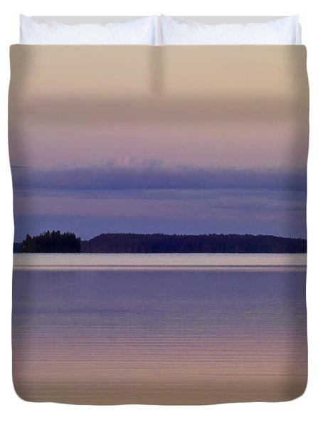 Sunset At Lake Muojaervi Duvet Cover by Heiko Koehrer-Wagner