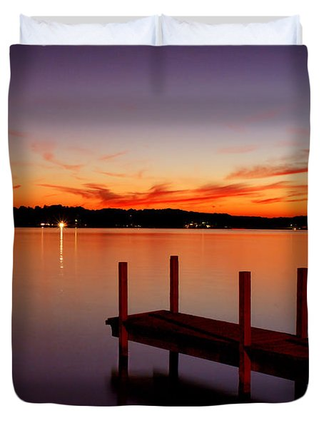 Duvet Cover featuring the photograph Sunset At The Dock by Michelle Joseph-Long