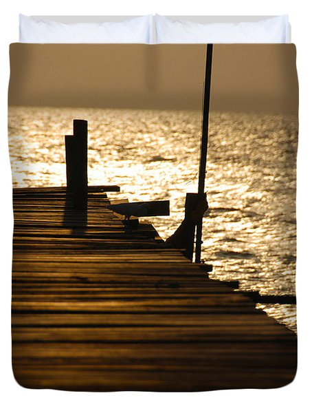 Sunset At The Pier Duvet Cover