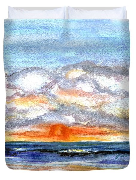 Duvet Cover featuring the painting Sunset Clouds by Clara Sue Beym