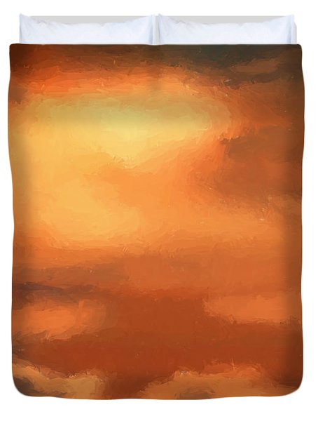 Sunset Clouds Duvet Cover by Pixel Chimp