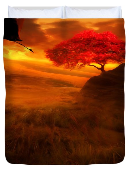 Sunset Duet Duvet Cover by Lourry Legarde