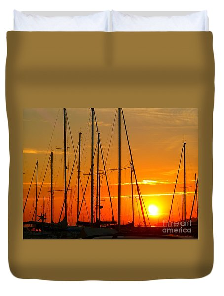 Sunset In A Harbour Digital Photo Painting Duvet Cover by Rogerio Mariani