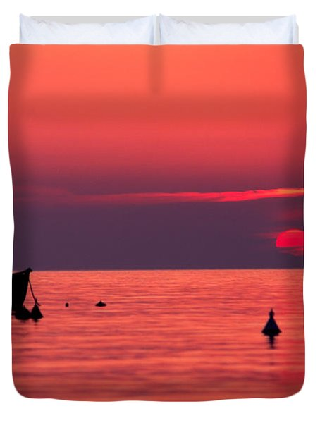 Duvet Cover featuring the photograph Sunset In Elba Island by Luciano Mortula