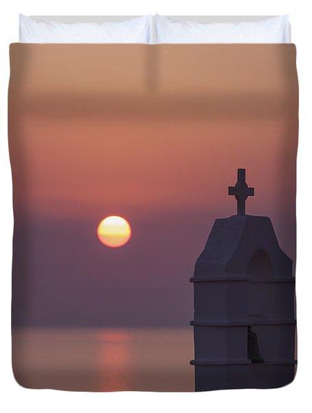 sunset in Greece Duvet Cover